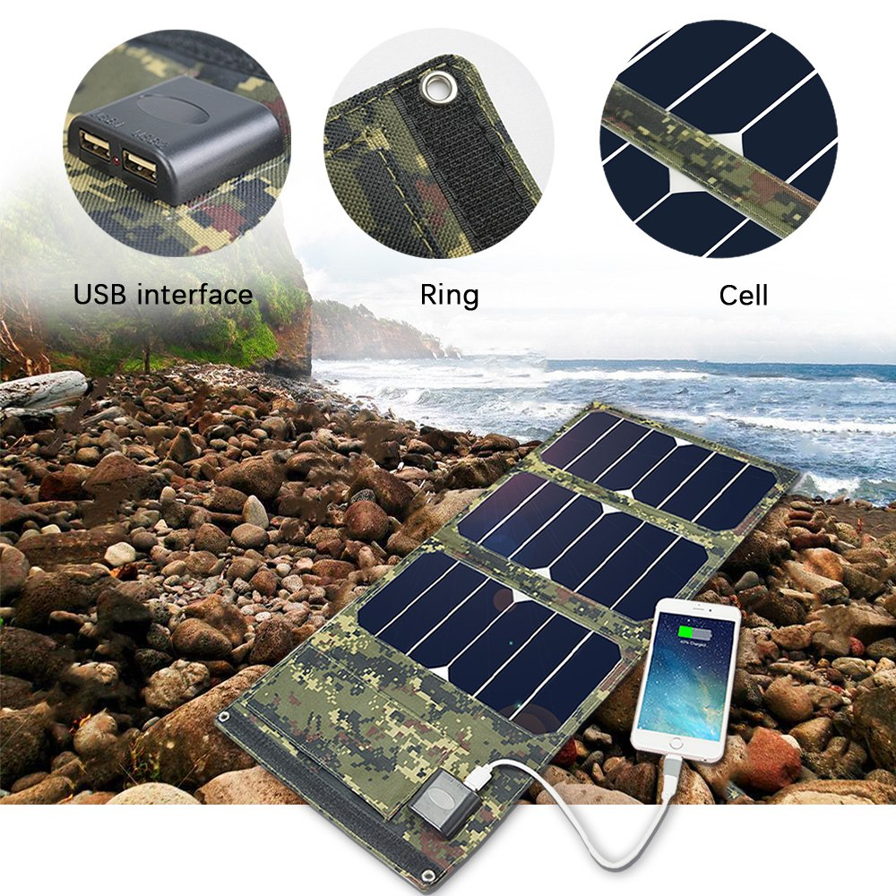 20W 5V Monocrystalline Folding Solar Panel Battery Charger