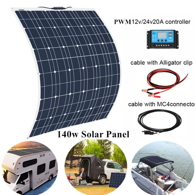 140W 18V Monocrystalline Solar Panel+20A PWM Controller for Car Home RV Yatch Battery Charger