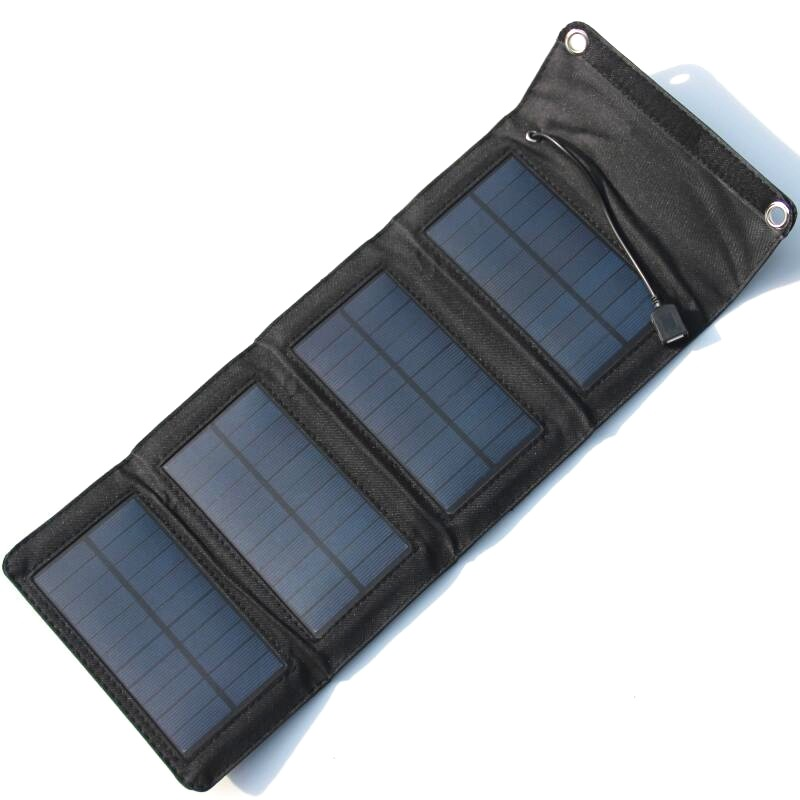 7W 5.5V Monocrystalline Folding Solar Panel Battery Charger