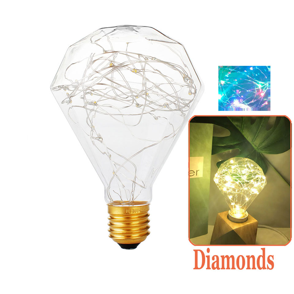 3W E27 Diamonds LED Edison Bulb AC85-265V Home Light LED Filament Light Bulb