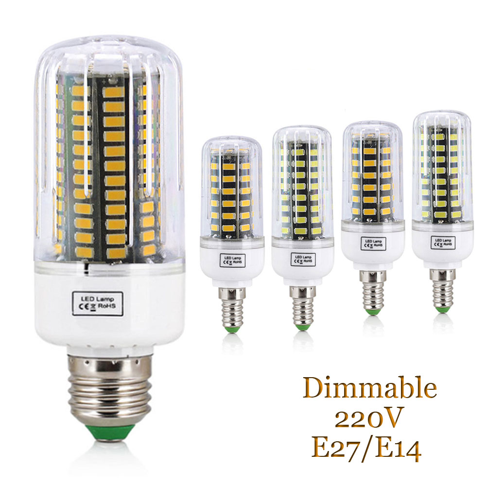 12W 15W 20W E14 E27 5733 SMD LED Corn Bulb Lamp 220V Chandelier LEDs Dimmable Spotlight