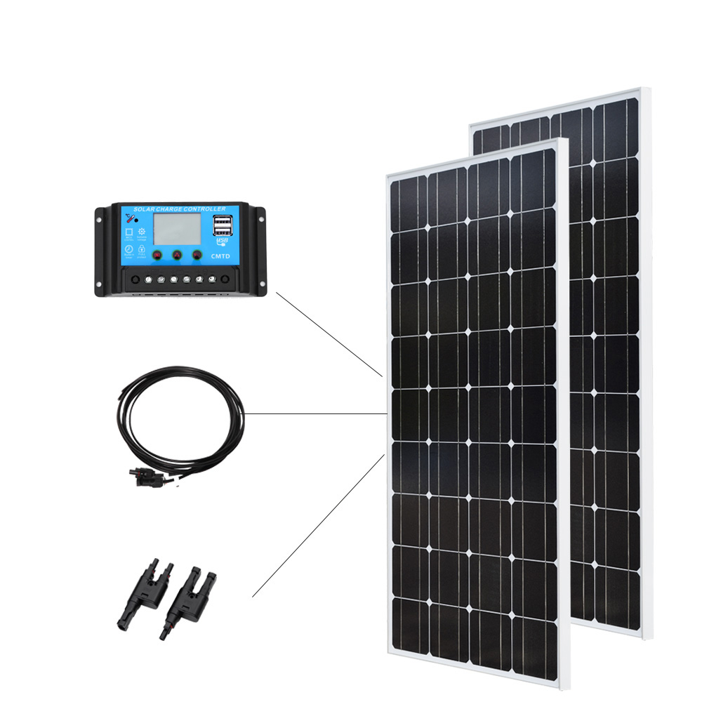 200W Solar System 100W Glass Solar Panel 20A Solar Controller Cable 2 in 1 Adapter