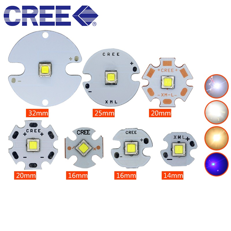 10W CREE XML2 High Power LED Emitter Warm White /White/ Blue 14-32mm Aluminum PCB