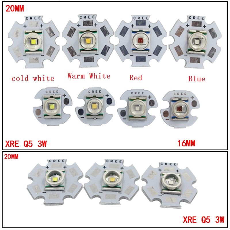 3W CREE XRE Q5 High Power LED Emitter White/ Warm White Red/Green/Blue/Yellow With 12-20mm Aluminum PCB